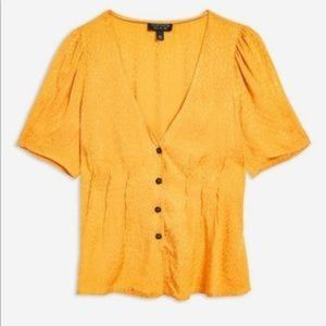Yellow Animal Jacquard Blouse, Topshop, US10